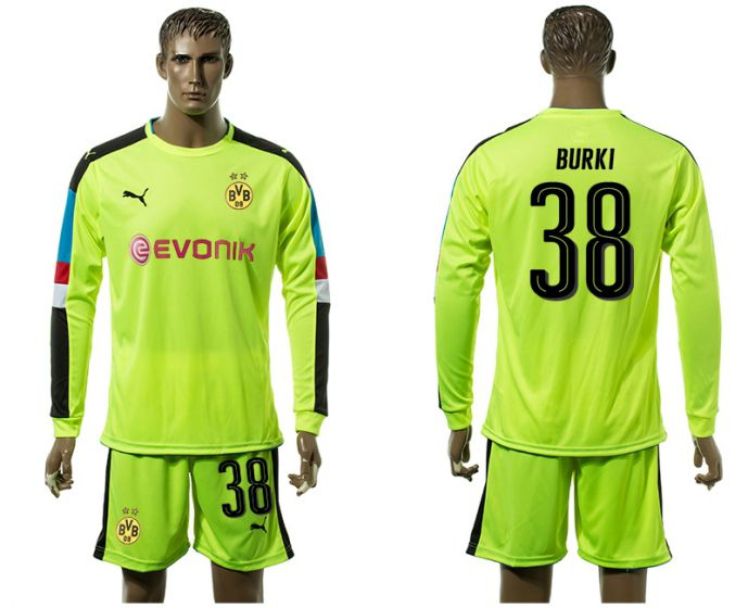 Men 2017-2018 club Borussia Dortmund Fluorescent green long-sleeved Goalkeeper Soccer Jersey 38 soccer jersey