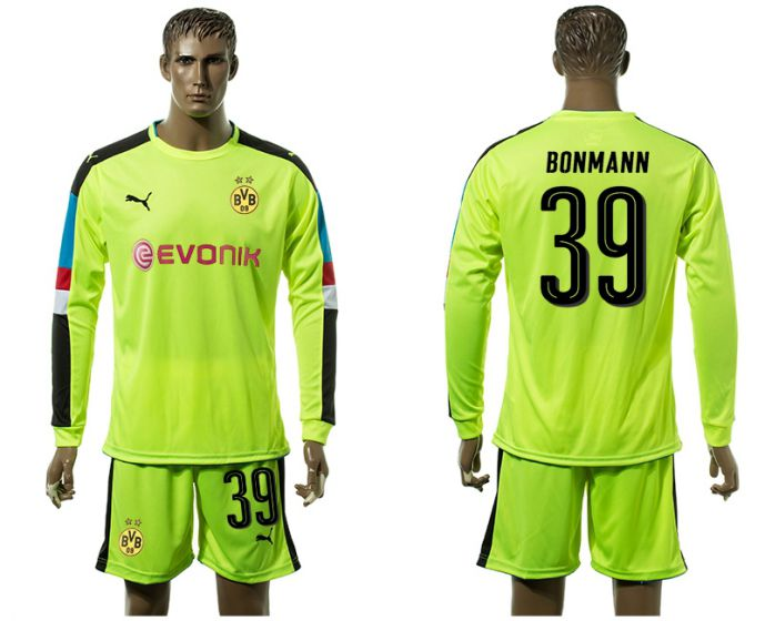 Men 2017-2018 club Borussia Dortmund Fluorescent green long-sleeved Goalkeeper Soccer Jersey 39 soccer jersey