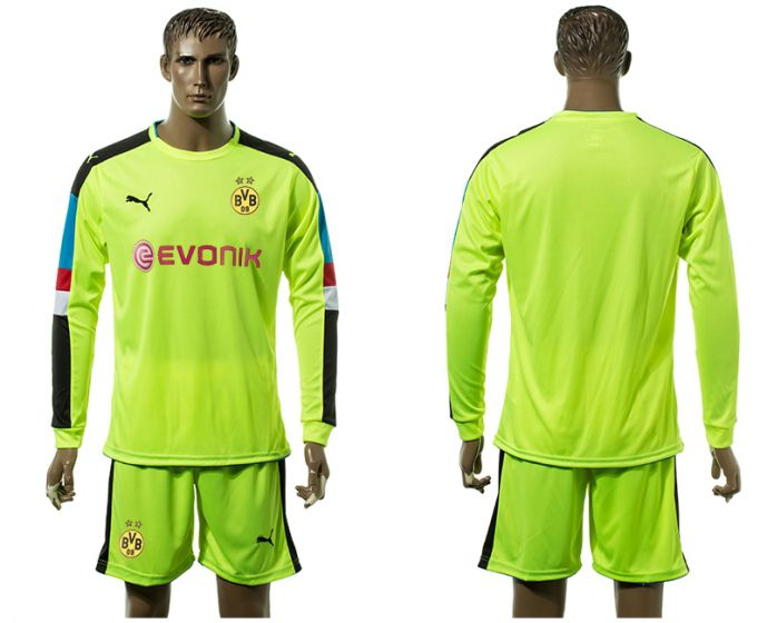 Men 2017-2018 club Borussia Dortmund Fluorescent green long-sleeved Goalkeeper Soccer Jersey soccer jersey