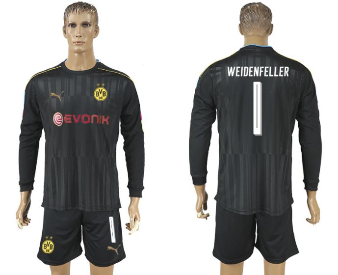 Men 2017-2018 club Borussia Dortmund black long-sleeved Goalkeeper Soccer Jersey 1 soccer jersey