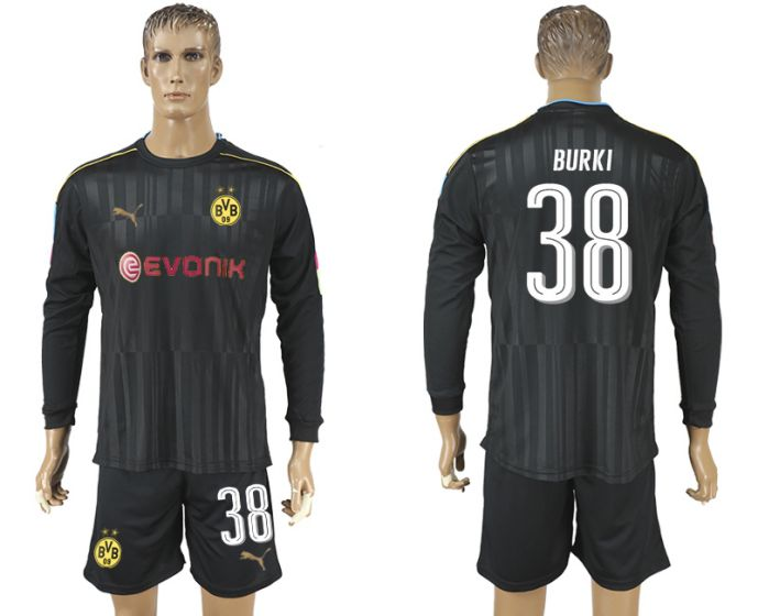 Men 2017-2018 club Borussia Dortmund black long-sleeved Goalkeeper Soccer Jersey 38 soccer jersey
