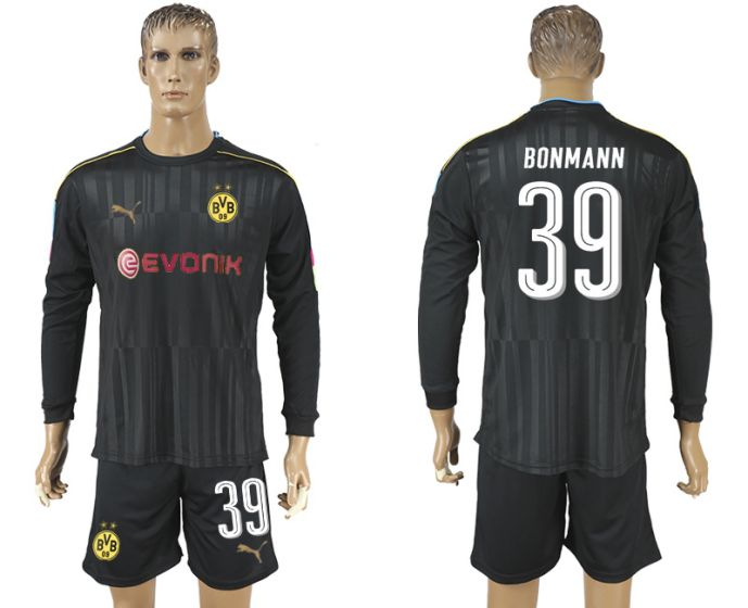Men 2017-2018 club Borussia Dortmund black long-sleeved Goalkeeper Soccer Jersey 39 soccer jersey