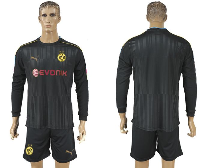 Men 2017-2018 club Borussia Dortmund black long-sleeved Goalkeeper Soccer Jersey soccer jersey