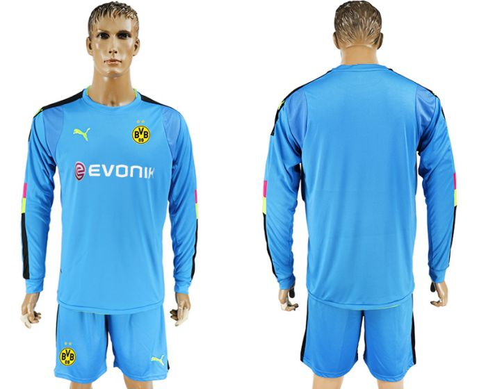 Men 2017-2018 club Borussia Dortmund blue long sleeved Goalkeeper Soccer Jersey soccer jersey