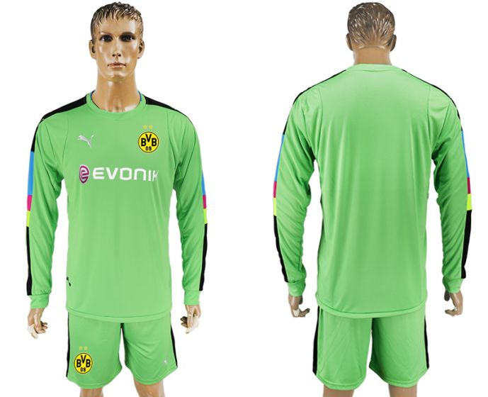 Men 2017-2018 club Borussia Dortmund green long sleeved Goalkeeper Soccer Jersey soccer jersey