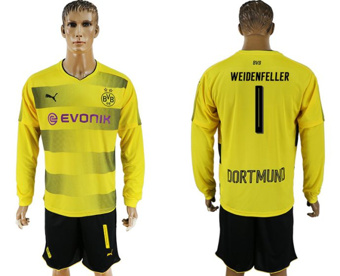 Men 2017-2018 club Borussia Dortmund home long sleeves 1 soccer jersey