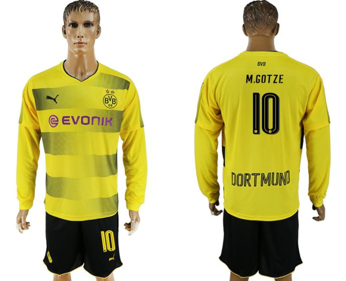 Men 2017-2018 club Borussia Dortmund home long sleeves 10 soccer jersey
