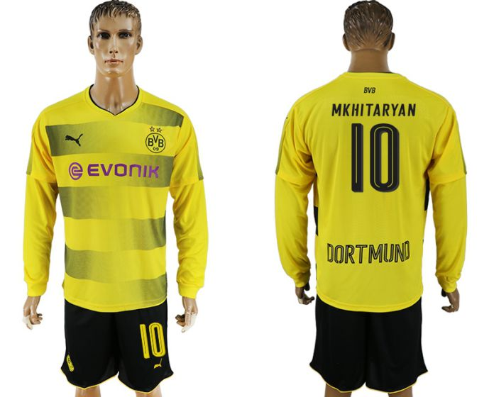 Men 2017-2018 club Borussia Dortmund home long sleeves 10 yellow soccer jersey