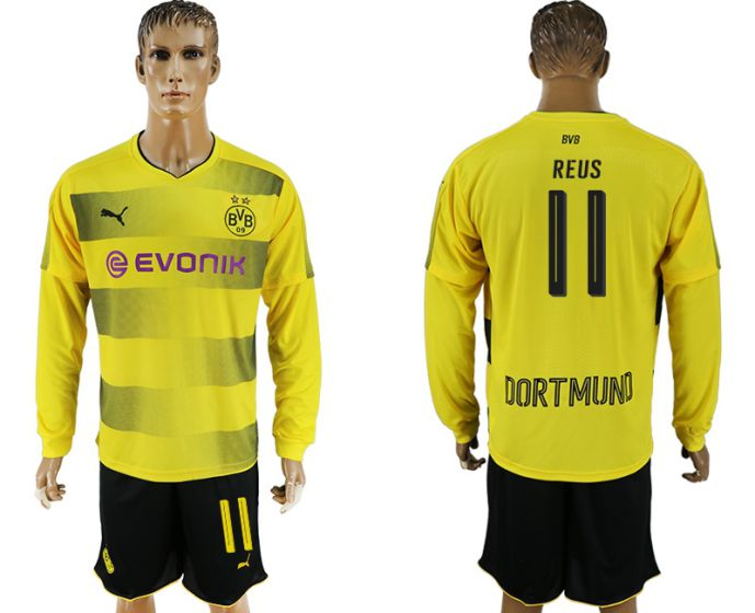 Men 2017-2018 club Borussia Dortmund home long sleeves 11 soccer jersey