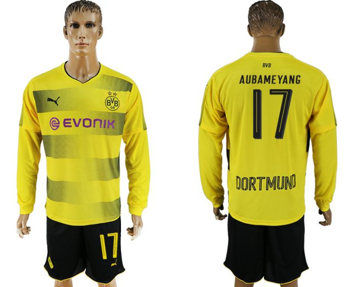 Men 2017-2018 club Borussia Dortmund home long sleeves 17 soccer jersey
