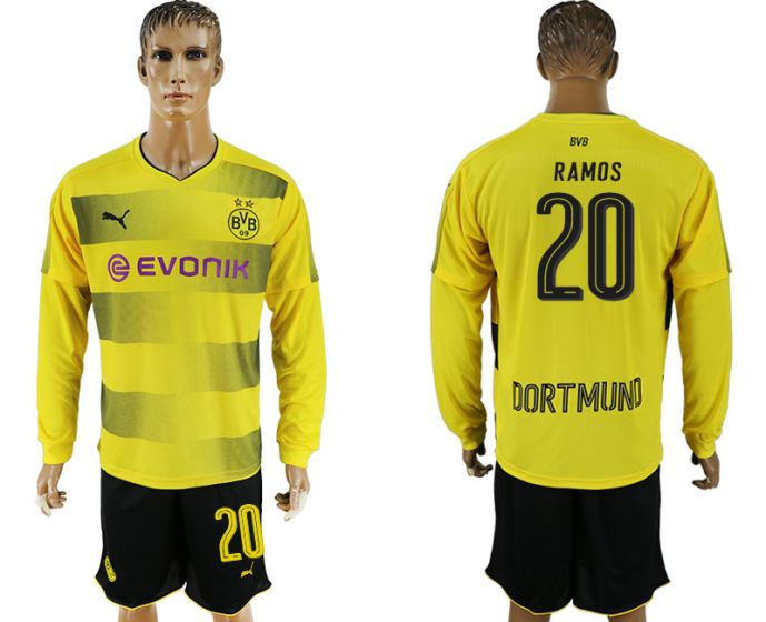 Men 2017-2018 club Borussia Dortmund home long sleeves 20 soccer jersey