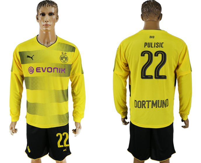 Men 2017-2018 club Borussia Dortmund home long sleeves 22 soccer jersey