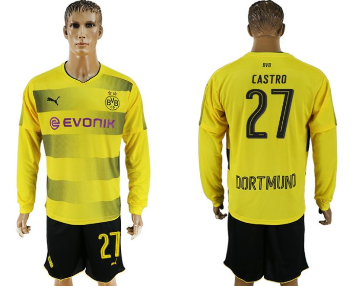 Men 2017-2018 club Borussia Dortmund home long sleeves 27 soccer jersey