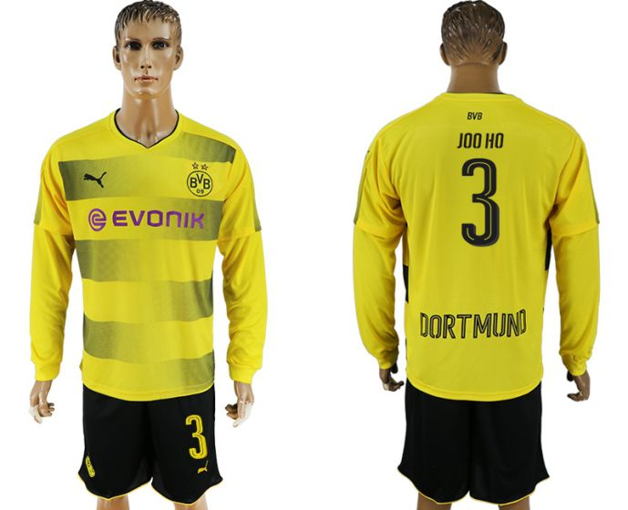 Men 2017-2018 club Borussia Dortmund home long sleeves 3 soccer jersey