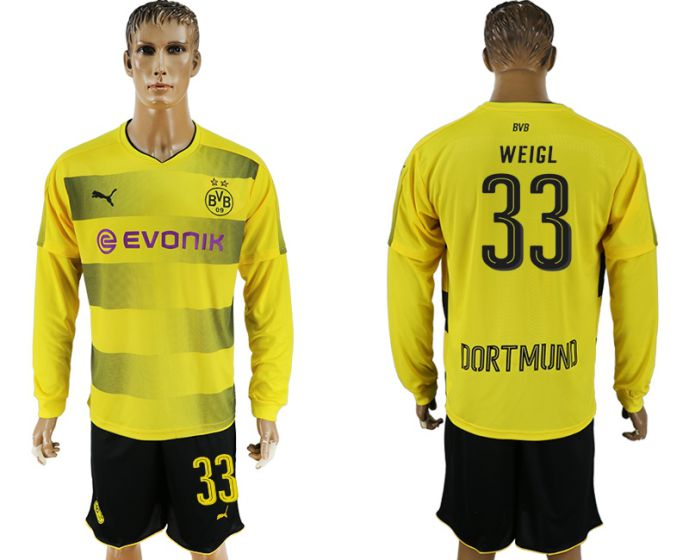 Men 2017-2018 club Borussia Dortmund home long sleeves 33 soccer jersey