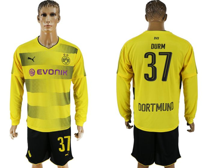 Men 2017-2018 club Borussia Dortmund home long sleeves 37 soccer jersey