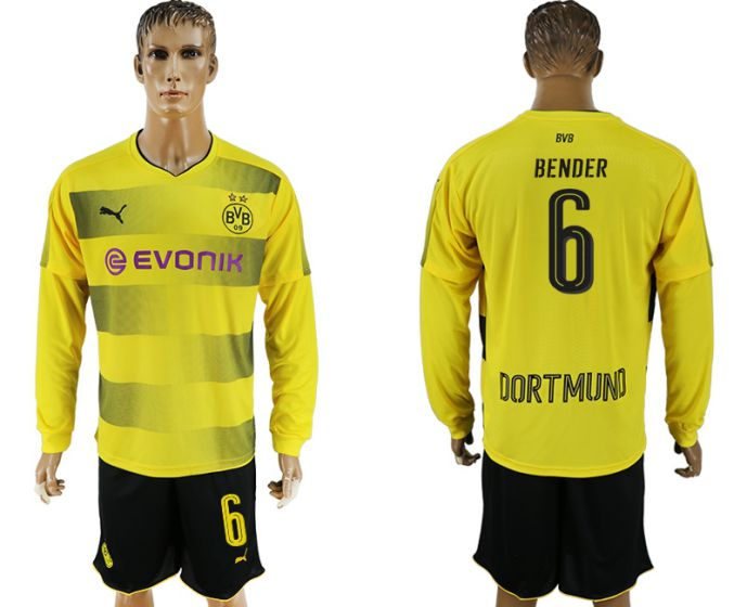 Men 2017-2018 club Borussia Dortmund home long sleeves 6 soccer jersey