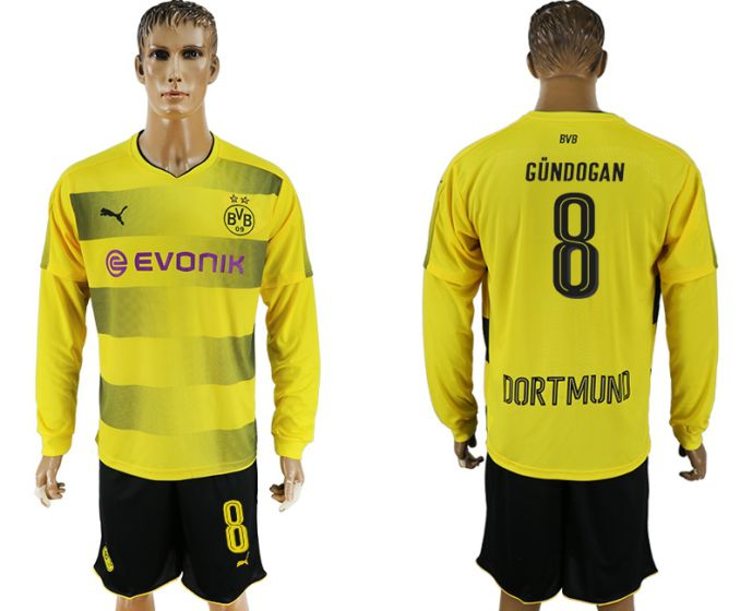 Men 2017-2018 club Borussia Dortmund home long sleeves 8 soccer jersey