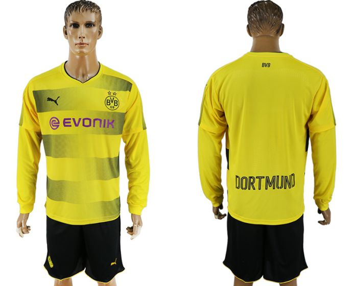 Men 2017-2018 club Borussia Dortmund home long sleeves soccer jersey