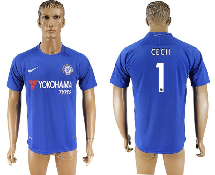 Men 2017-2018 club Chelsea FC home aaa version 1 Cech blue soccer jersey