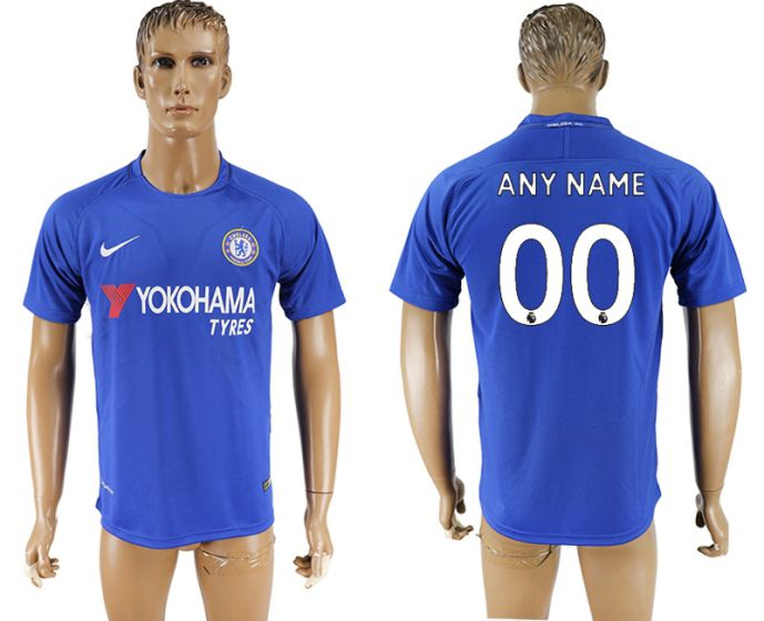 Men 2017-2018 club Chelsea FC home aaa version customized blue soccer jersey