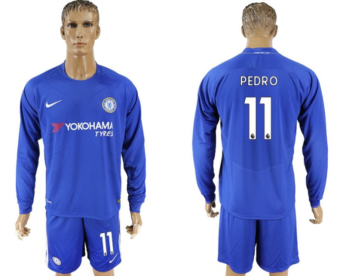 Men 2017-2018 club Chelsea ahome Long sleeve 11 blue soccer jersey