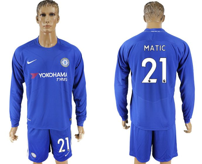 Men 2017-2018 club Chelsea ahome Long sleeve 21 soccer jersey