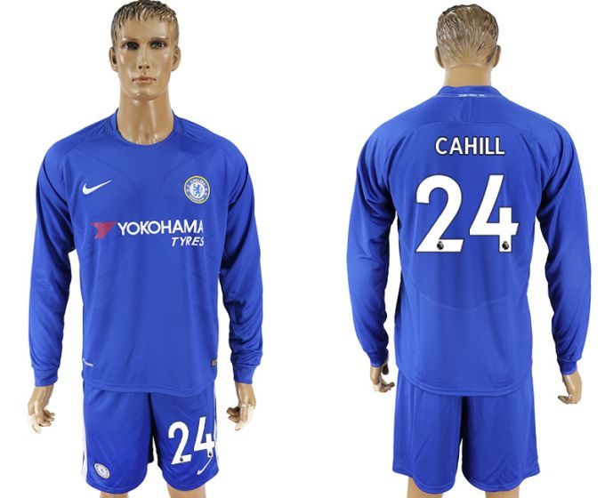 Men 2017-2018 club Chelsea ahome Long sleeve 24 soccer jersey