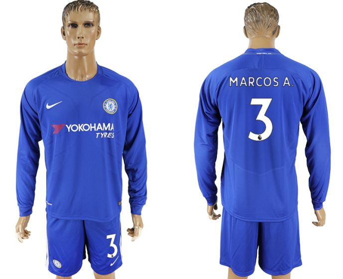 Men 2017-2018 club Chelsea ahome Long sleeve 3 soccer jersey