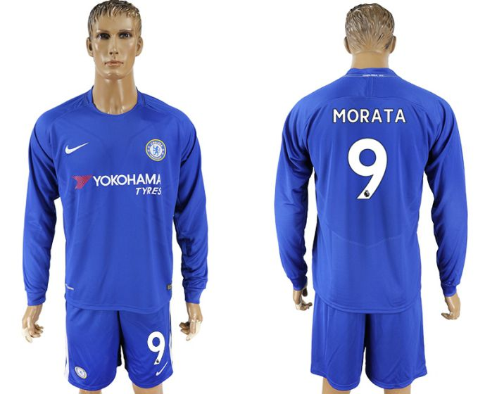 Men 2017-2018 club Chelsea ahome Long sleeve 9 soccer jersey