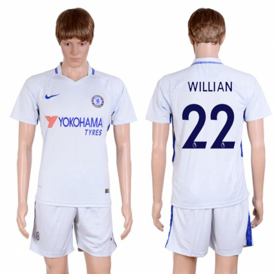 Men 2017-2018 club Chelsea away 22 Grey soccer jersey