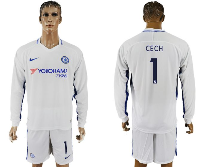 Men 2017-2018 club Chelsea away Long sleeve 1 white soccer jersey