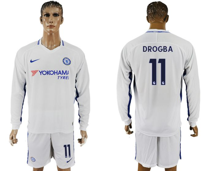 Men 2017-2018 club Chelsea away Long sleeve 11 white soccer jersey