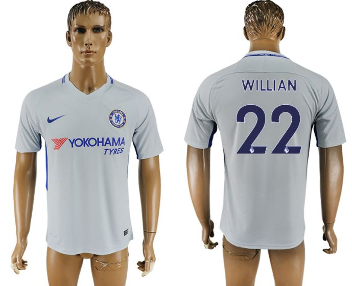 Men 2017-2018 club Chelsea away aaa version 22 Grey soccer jersey