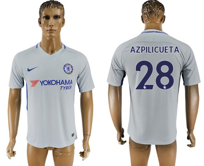 Men 2017-2018 club Chelsea away aaa version 28 Grey soccer jersey