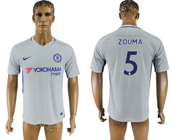 Men 2017-2018 club Chelsea away aaa version 5 Grey soccer jersey