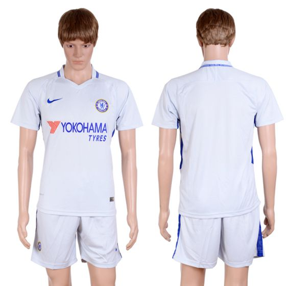 Men 2017-2018 club Chelsea away blank Grey soccer jersey