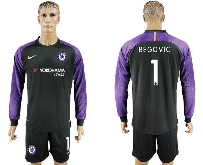 Men 2017-2018 club Chelsea black long sleeve goalkeeper 1 soccer jersey