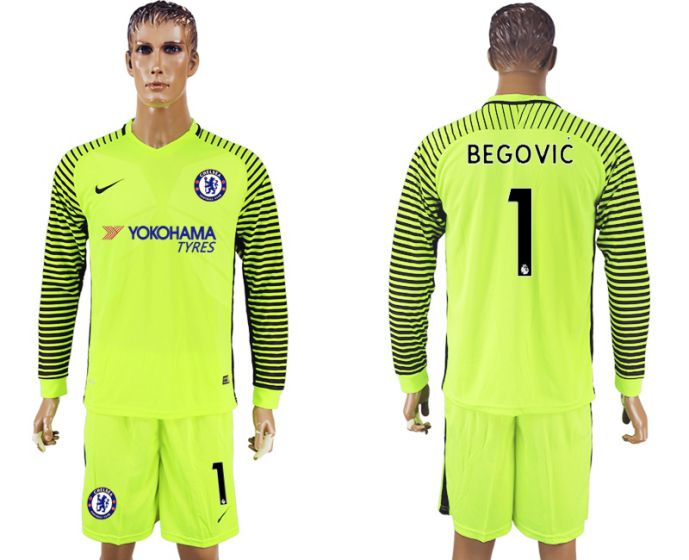 Men 2017-2018 club Chelsea fluorescent green goalkeeper long sleeves 1 soccer jersey