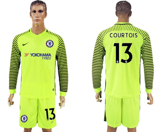 Men 2017-2018 club Chelsea fluorescent green goalkeeper long sleeves 13 soccer jersey