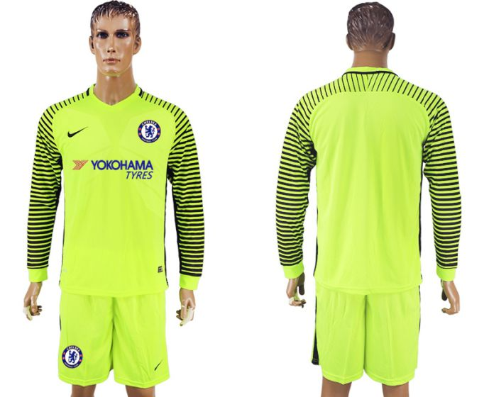 Men 2017-2018 club Chelsea fluorescent green goalkeeper long sleeves soccer jersey
