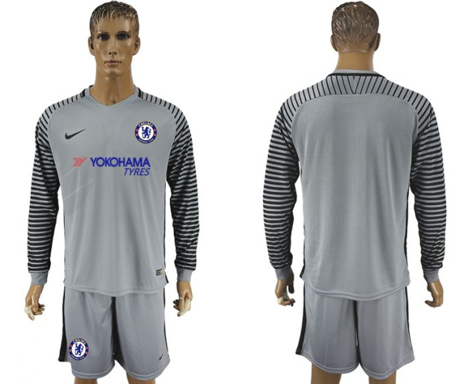 Men 2017-2018 club Chelsea gray goalkeeper long sleeve soccer jersey