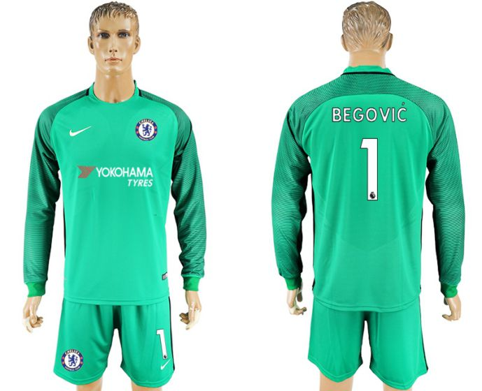 Men 2017-2018 club Chelsea green goalkeeper long sleeves 1 soccer jersey