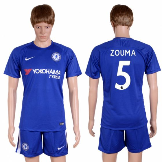 Men 2017-2018 club Chelsea home 5 blue soccer jersey