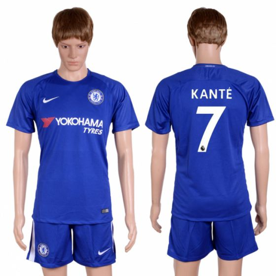Men 2017-2018 club Chelsea home 7 blue soccer jersey