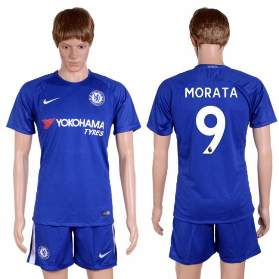 Men 2017-2018 club Chelsea home 9 blue soccer jersey
