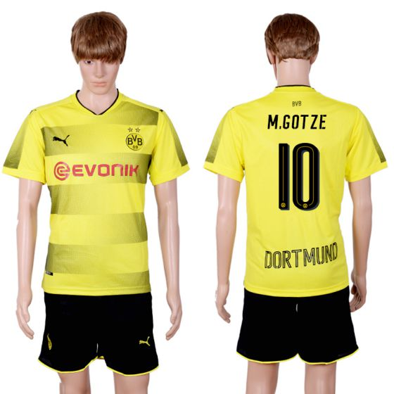 Men 2017-2018 club Dortmund home 10 yellow soccer jersey