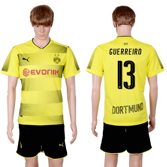 Men 2017-2018 club Dortmund home 13 yellow soccer jersey