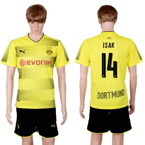 Men 2017-2018 club Dortmund home 14 yellow soccer jersey