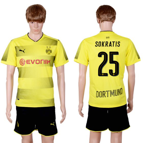 Men 2017-2018 club Dortmund home 25 yellow soccer jersey